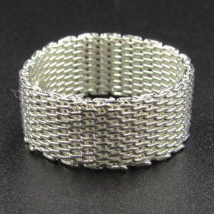 Size 9 Sterling Silver Light Mesh Design Band Ring